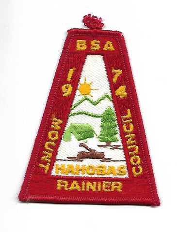 1974 Hahobas Mount Rainier Council BSA Patch RED Bdr. [NAN-1964]