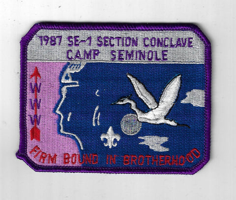 1987 OA Conclave Section SE-1 Camp Seminole Firm Bound In Brotherhood PUR Bdr. [