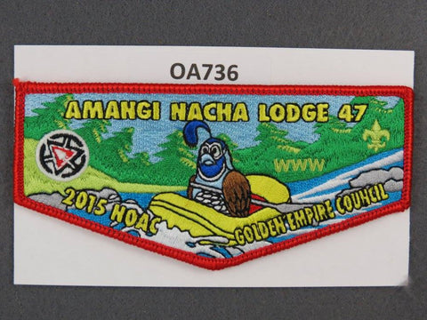 OA Lodge # 47 Amangi Nacha Red Border Golden Empire   Flap [OA736]**