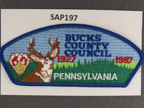 Bucks County Council Pennsylvania CSP 1987 Anniversary Blue Border - Scout Patch HQ