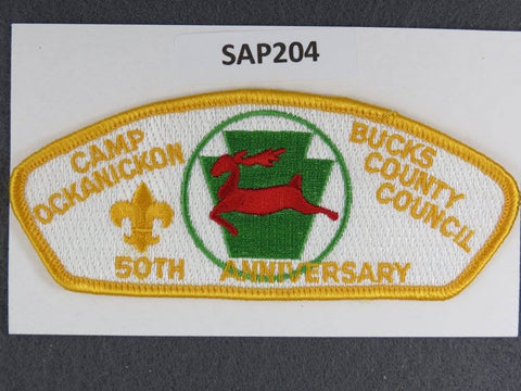 Bucks County Council Pennsylvania CSP Camp Ockanickon 50th Anniversary Yellow Border - Scout Patch HQ