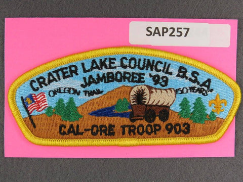 Crater Lake Council CSP 1993 Cal-Ore Troop 903 Jamboree Yellow Border - Scout Patch HQ