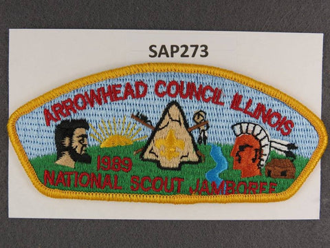Arrowhead Council Illinois CSP 1989 National Scout Jamboree Yellow Border - Scout Patch HQ