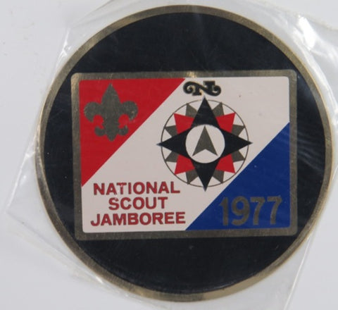 "1977 National Scout Jamboree Hard Plastic Seal 3"" Round  [C-086]"