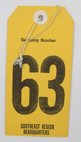 1981 National Jamboree Subcamp Number 63 Luggage Tag Southeast Region Headquarters [C-118]