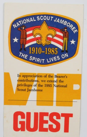 1985 National Scout Jamboree The Spirit Lives On Guest Pass [C-166]