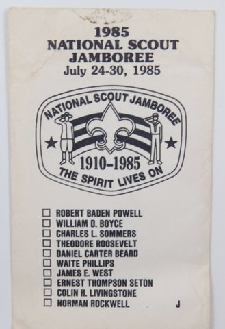 1985 National Scout Jamboree The Spirit Lives On Trading Card Envelope (empty) [C-167]