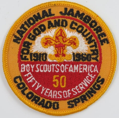 1910-1960 Jamboree Colorado Spring BSA 50 Yrs. Reproduction Plastic Back YEL Bdr. [C18]