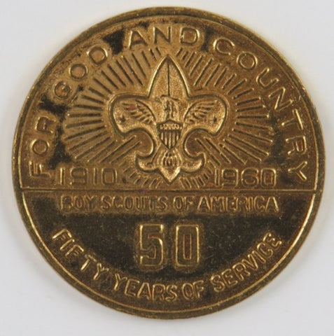 1910-1960 Jamboree Colorado Spring BSA 50 Yrs. Of Service For God & Country Coin [C21]
