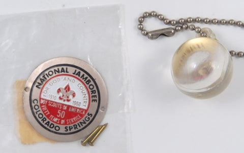 1910-1960 Jamboree Colorado Spring BSA 50 Yrs. Hicking Stick Medallion Mint In Bag With 2 Nails + Keychain [C25]