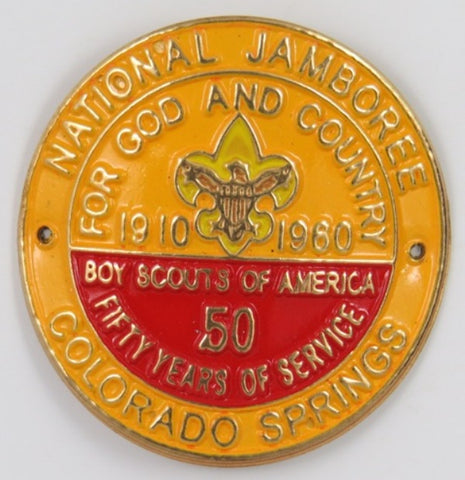 1910-1960 Jamboree Colorado Spring BSA 50 Yrs. Hicking Stick Medallion Mint In Bag With 2 Nails [C26]