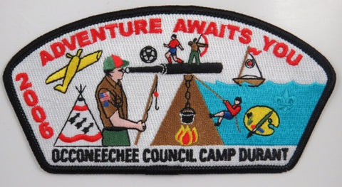 Occoneechee Council 2006 Adventure Awaits You, Camp Durant BLK Bdr. [C-292]