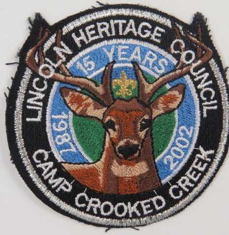 1987-2002 15 Yrs. Lincoln Heritage Council Camp Crooked Creek GRY Bdr. [C-729]
