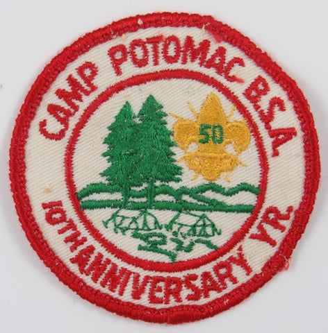 10th Anniversary Year Camp Potomac BSA RED Bdr. (sewn) [C-813]