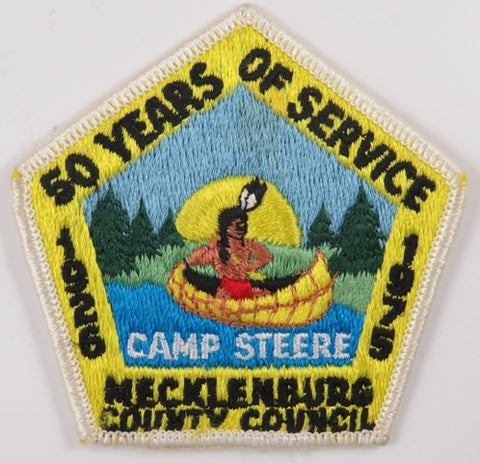 1926-1975 50 Yrs. Of Service Mecklenburg County Council Camp Steere WHT Bdr. [C-838]