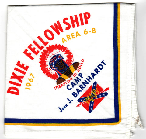 1967 Dixie Fellowship Neckerchief Camp Barnhardt Hosted By Itibapishe Iti Hollo Lodge 188 [CC452]