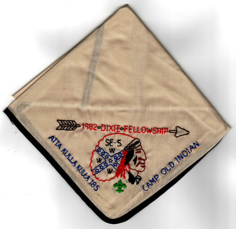 1982 Dixie Fellowship Neckerchief Camp Old Indian Hosted By Atta Kulla Lodge 185