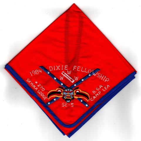 1984 Dixie Fellowship Neckerchief Camp Lea Hosted By Skyuka Lodge 270 [CC468]
