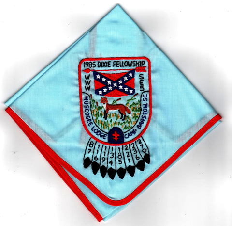 1985 Dixie Fellowship Neckerchief Camp Barstow Hosted By Muscogee Lodge 221