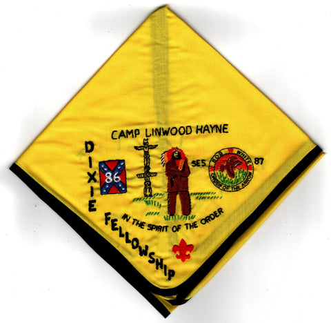 1986 Dixie Fellowship Neckerchief Camp Linwood Hayne Hosted By Bob White Lodge 87