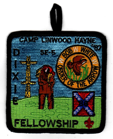 1986 Dixie Fellowship Patch Camp Linwood Hayne Hosted By Bob White Lodge 87 [CC440]
