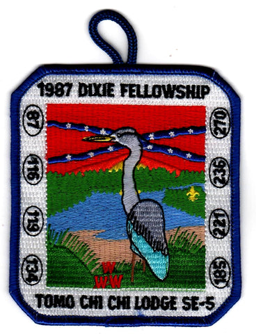 1987 Dixie Fellowship Patch Camp Blue Heron Hosted By Tomo Chi-Chi Lodge 119