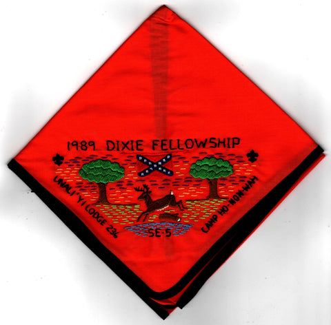1989 Dixie Fellowship Neckerchief Camp Ho Non Wah Hosted By Un A Li'yi Lodge 236 [CC473]