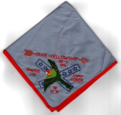 1991 Dixie Fellowship Neckerchief Camp Coker Hosted By Santee Lodge 116