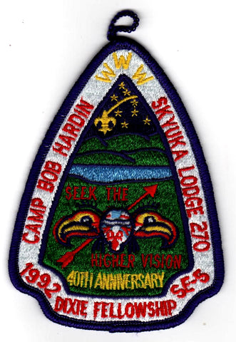 1992 Dixie Fellowship Patch Camp Bob Hardin Hosted By Skyuka Lodge 270 [CC448]