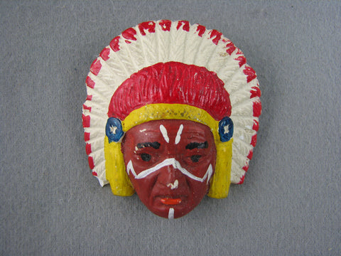 1960s Painted Native American Chief Ceramic Neckerchief Slide