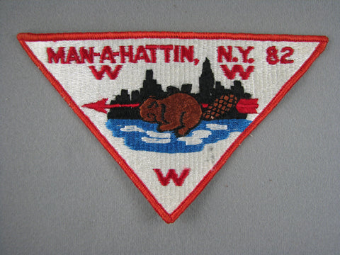OA Lodge 82 Man-A-Hattin P2 Pie Shaped Patch Greater New York, Manhattan  (yellow back) [G1961]