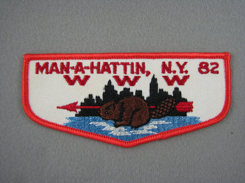 OA Lodge 82 Man-A-Hattin F2 Twill Flap Greater New York, Manhattan  [G1971]