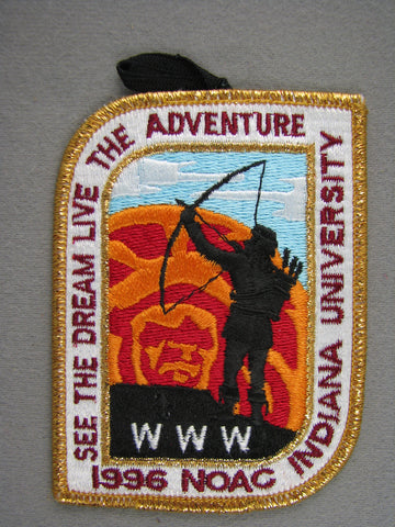 1996 NOAC Order of the Arrow OA Conference Patch Gold Mylar Border With Loop [G2009]