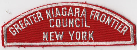 RWS Greater Niagara Frontier Council New York Red & White Shoulder Strip CSP (tacky backing, otherwise mint)