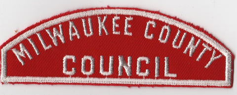 RWS Milwaukee Council Red & White Shoulder Strip CSP (tacky backing, otherwise mint)