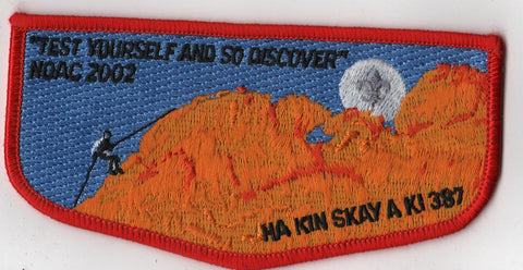 OA Lodge # 387 Ha-Kin-Skay-A-Ki Flap 2002 NC Red Border Pikes Peak  [BH281]**