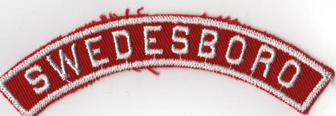 SWEDESBORO RWS Red & White Community Strip (tacky backing, otherwise mint)