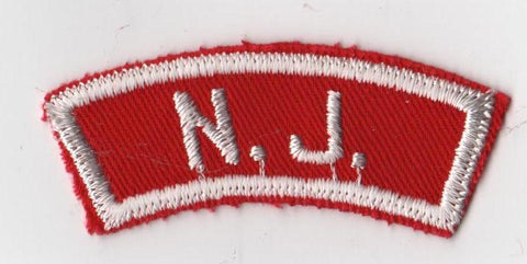 N.J. NEW JERSEY RWS Red & White Community State Strip (tacky backing)