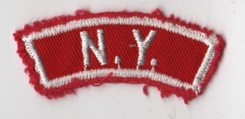 N.Y. NEW YORK RWS Red & White Community State Strip (tacky backing, sewn)