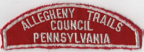 RWS Allegheny Trails Council Pennsylvania Red & White Shoulder Strip CSP (sewn)