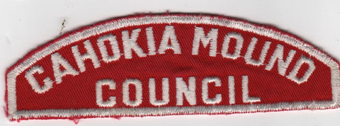 RWS Cahokia Mound Council Red & White Shoulder Strip CSP (tacky backing, sewn)