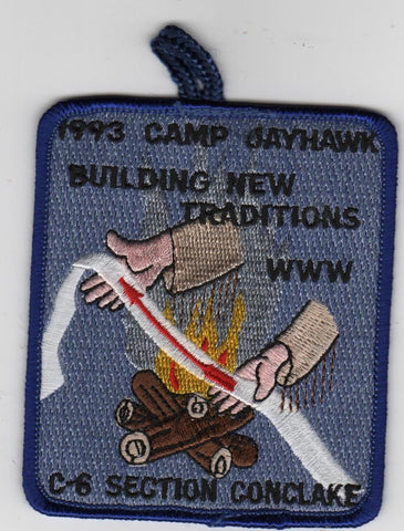 1993 Section C-6 Conclave Camp Jayhawk Bulding New Traditions Blue Border Patch