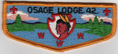 OA Lodge # 42 Osage Lodge S4b plastic back Flap Ozark Area  [MO252]