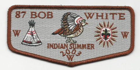 OA Lodge Bob White 87 S22 Flap 2003 Indian Summer Georgia-Carolina Council [SMV121]