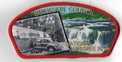 2017 National Scout Jamboree Buckskin Council Mystery Hole JSP Red [C3149] - Scout Patch HQ