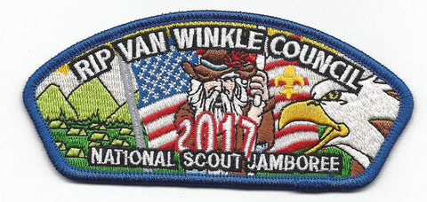 2017 National Scout Jamboree Rip Van Winkle Council Blue Border JSP - Scout Patch HQ