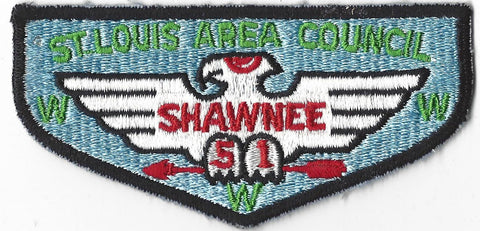 OA Lodge # 51 Shawnee Flap Clothback Pre-fdl Greater St. Louis Area  [CAR417]