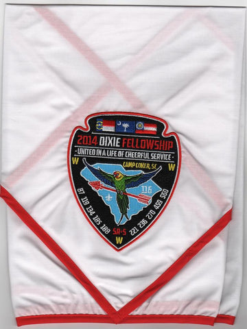 #116 Santee Lodge 2014 Dixie Fellowship Participant White Neckerchief in bag - Scout Patch HQ