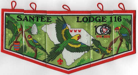 #116 Santee Lodge 2015 Complete OA Centennial 5-Patch Set - Scout Patch HQ