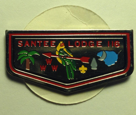 #116 Santee Lodge 1980s Flap Shaped Hat Pin